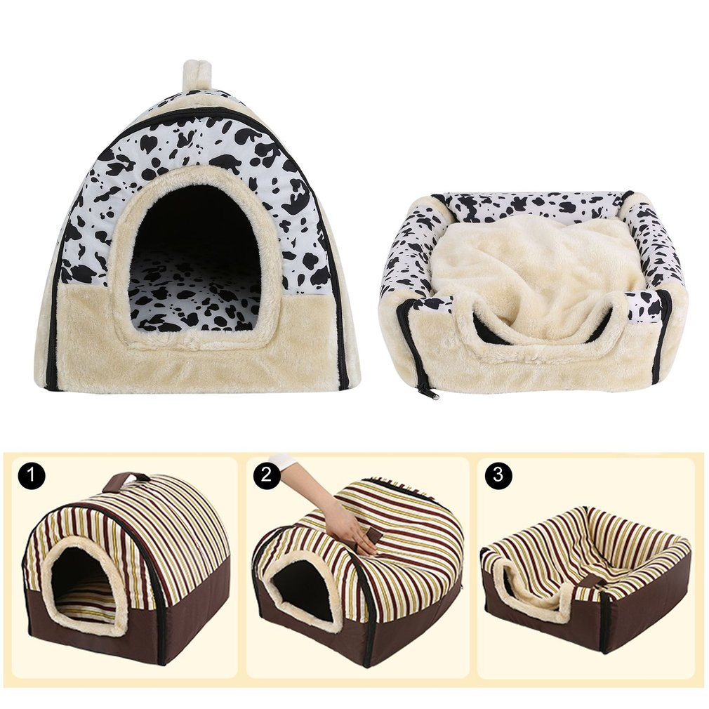 Foldable Dog Puppy Cat House Kennel Nest Bed With Mat Pet Travel Bed Tent