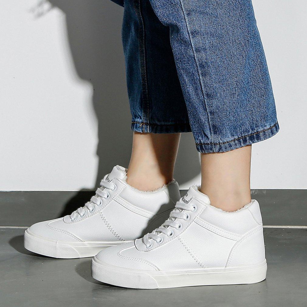 Renben Female Winter Short Boots Plus Velvet Flat Heels Round Toe Sweet Boots