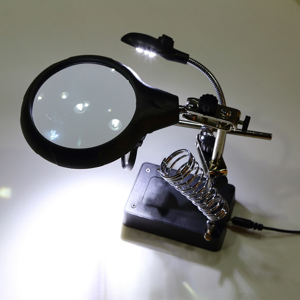 5 LED Hands Free Magnifier Adjustable Magnifier Lamp Useful Magnifying Glass