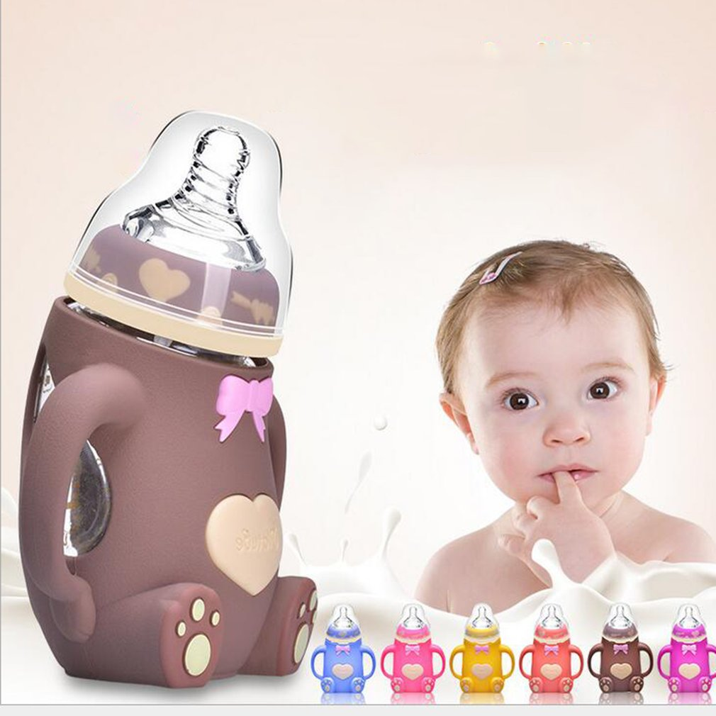 Wide Mouth Glass Milk Bottle With Handle & Protective Silicone Cover 240ml