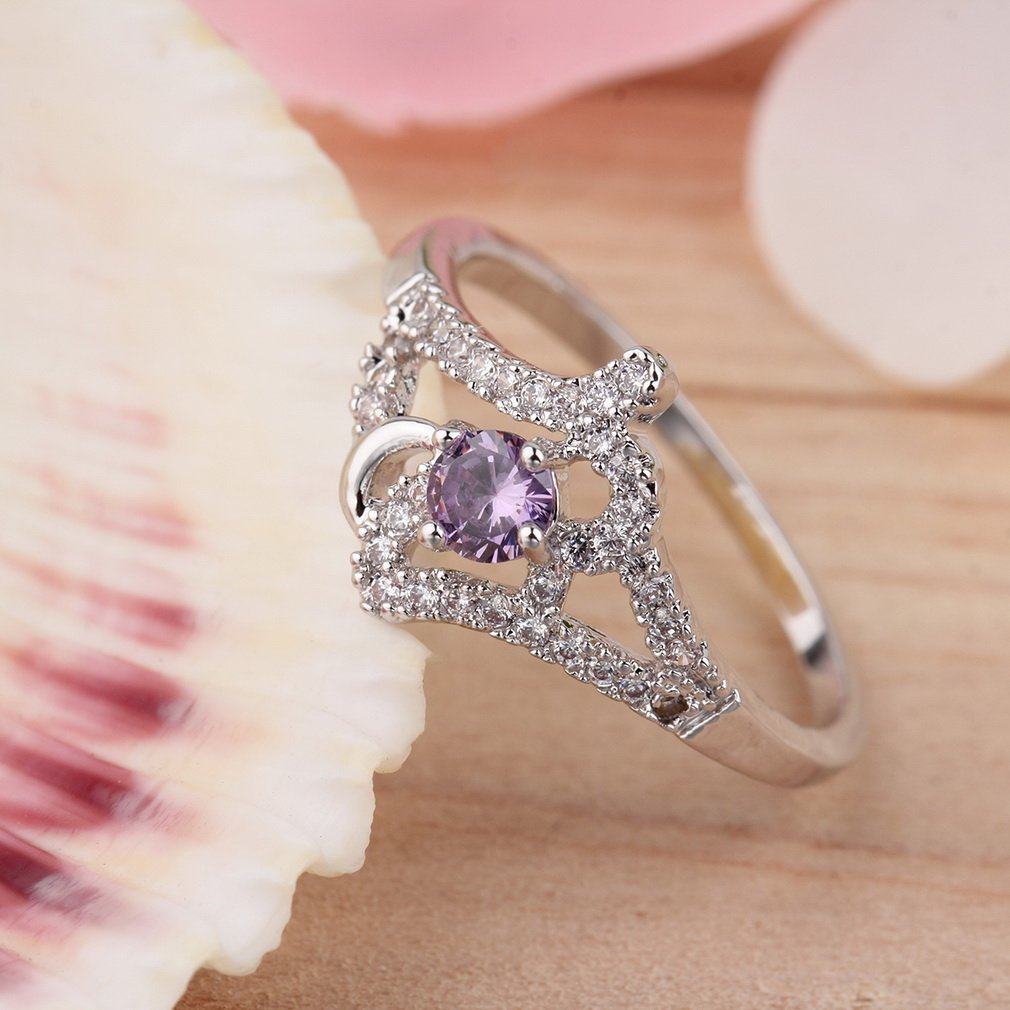 Novel Purple Zircon Women Girls Vintage Crystal Rhinestone Finger Ring