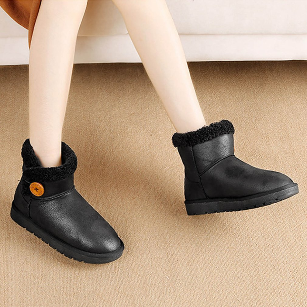 Renben Suede Flat Heel Women Short Snow Boots Artificial Plush Warm Boots