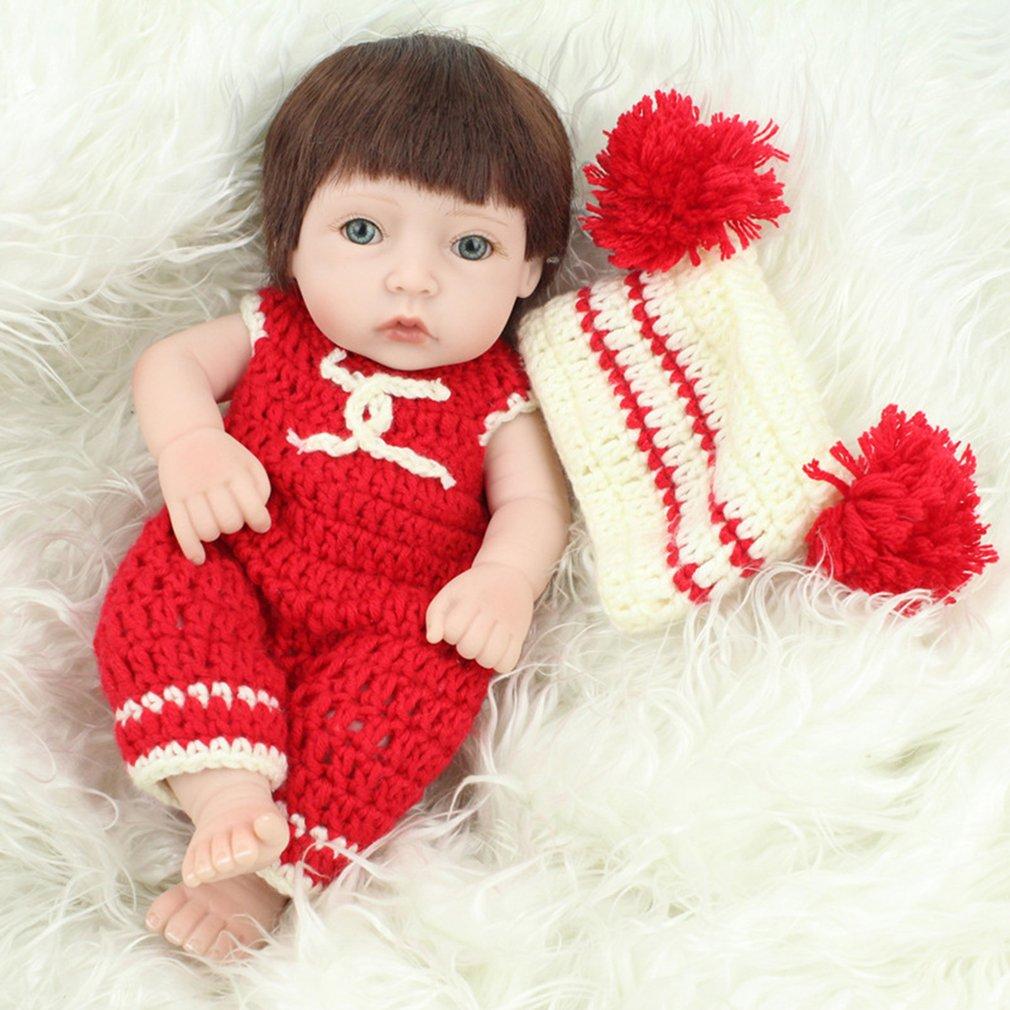 28CM Brown Hair Baby Kids Reborn Baby Doll Soft Vinyl Lifelike Newborn Doll