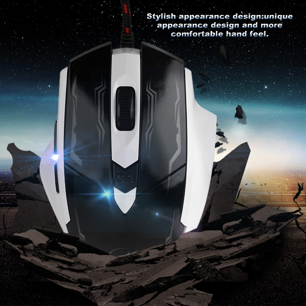 USB Wired Mouse LED 2400DPI Computer Gaming Mouse Optical 6 Buttons Mouse