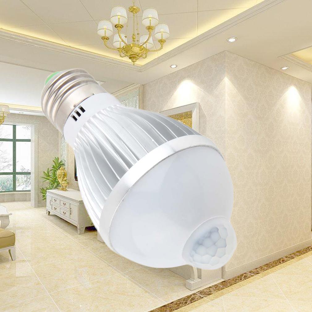 5W E27 Auto PIR Infrared Motion Sensor Detection White LED Bulb Light Lamp