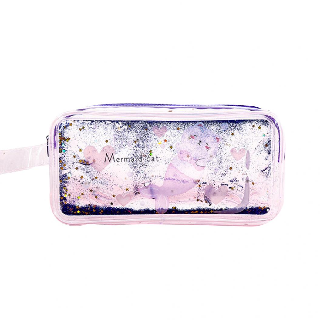 Cute Quicksand Oil Transparent Pencil Case Bag Girls Cosmetic Storage Pouch
