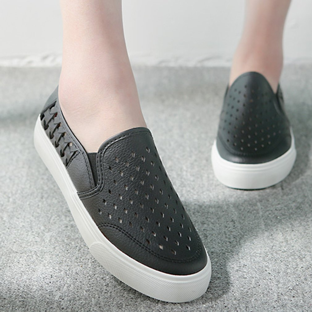 8537 Fashion Hollow Breathable Flat Shoes Slip-on Round Toe Rubber Sole Loafer
