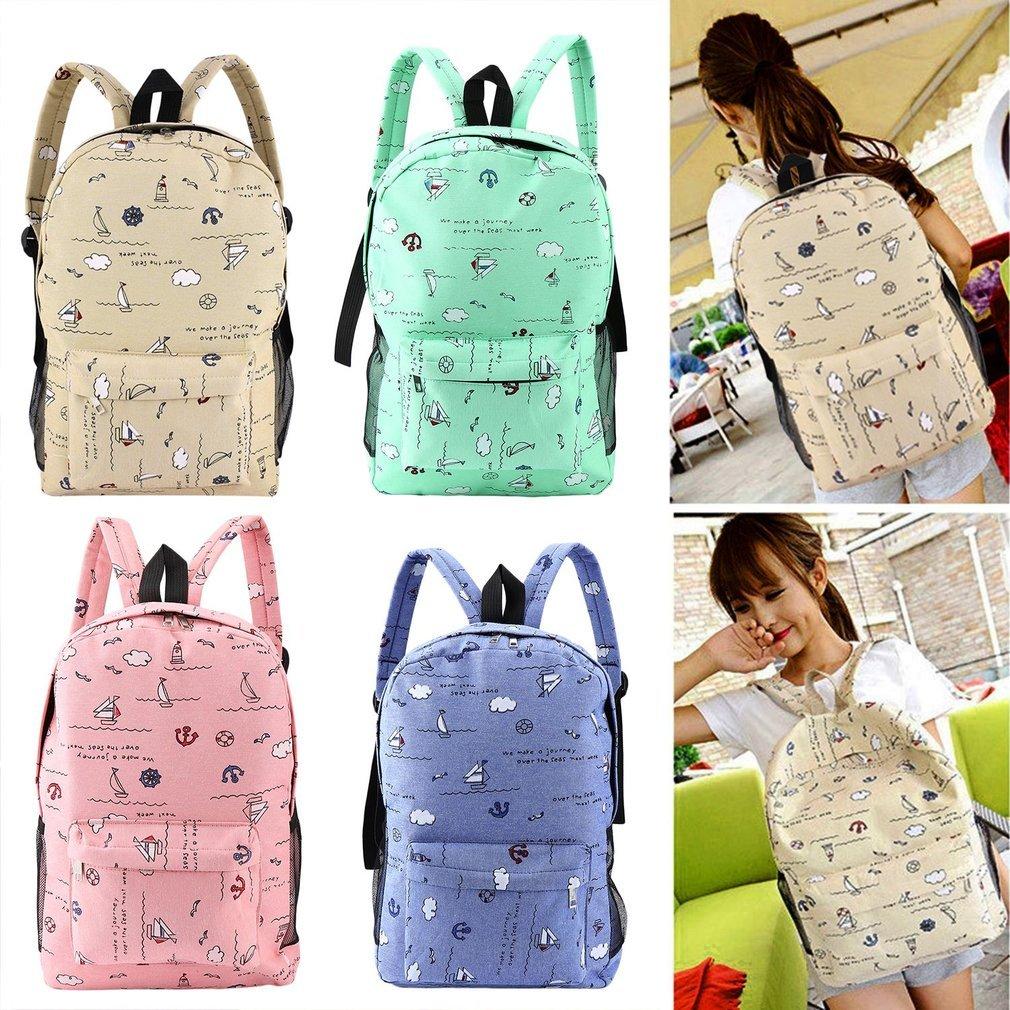 Lightweight Cartoon Printed Women's Backpacks Casual Soft Canvas Large Capacity School Girls Bags Travel Shoulder Bag