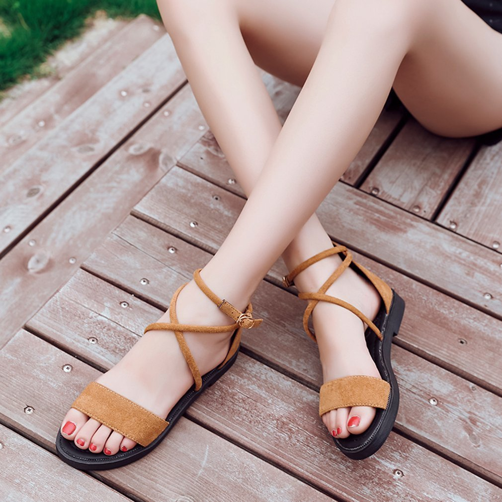 Korean Style Fashion Female Sandals Anti-skid Flat Heel Open-toed Comfortable Casual Sandals All-match Summer Shoes