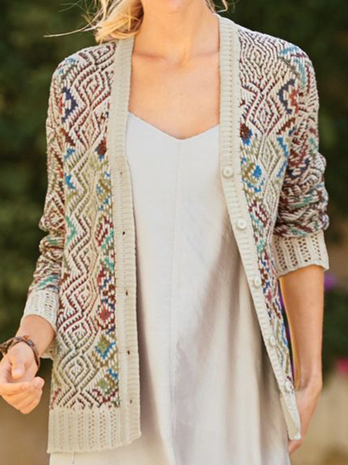 Khaki Knitted Long Sleeve Knitted Outerwear