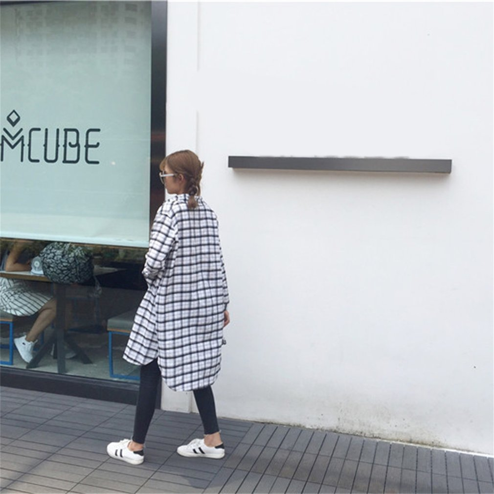 Fashion Long Plaid Blouse Shirt Casual Style Long Sleeve Turn-Down Collar Open Split End Outwear for Women
