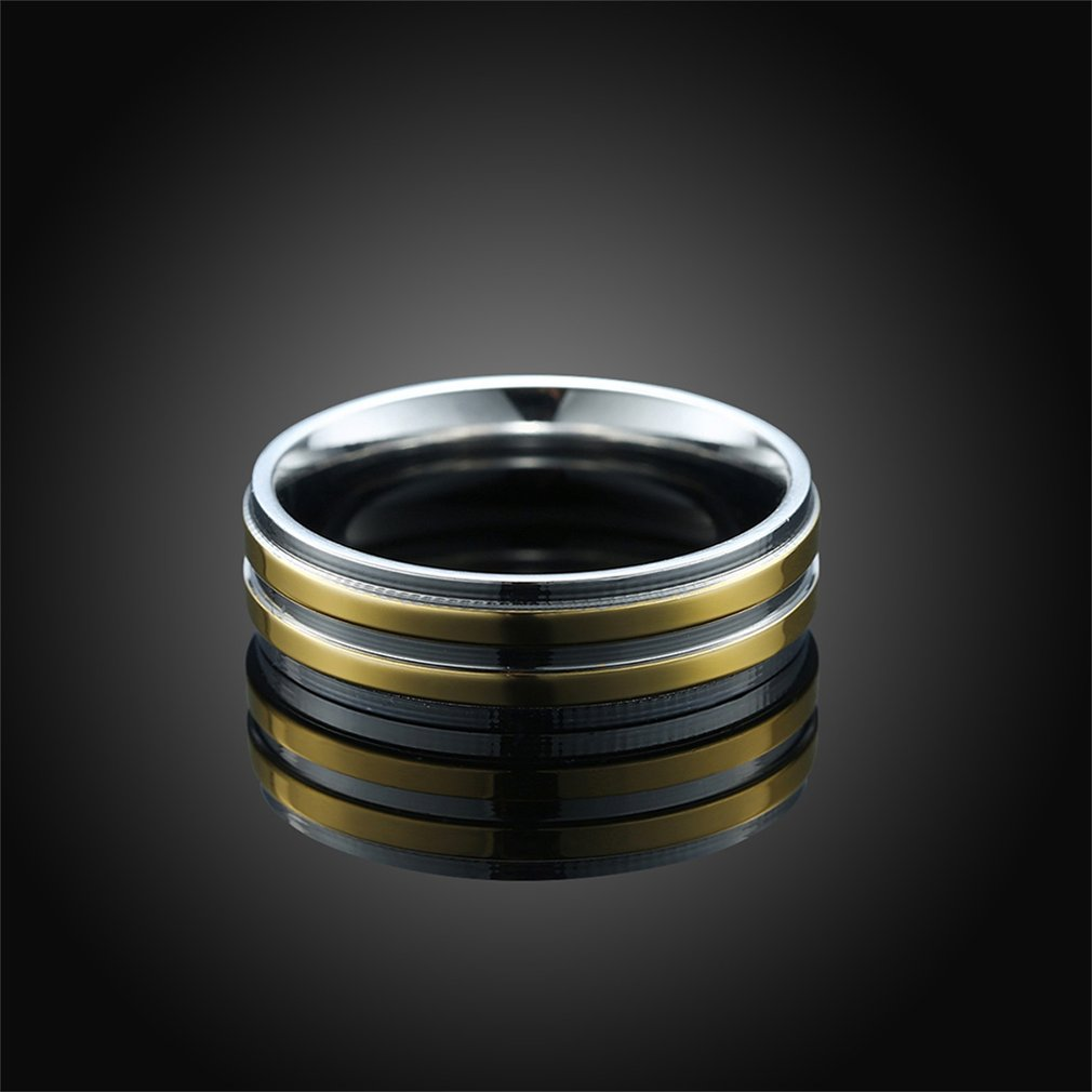 Refined Jewelry Nickel-free Romantic Wedding Ring Unleaded Lover's Ring Setting With 3pcs Zircon Decor for Men TGR156-A-8