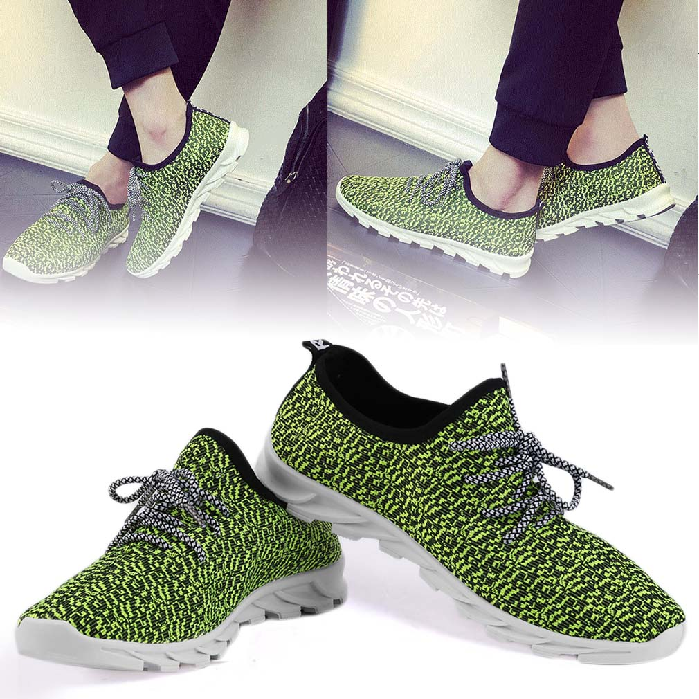 Fashion Male Shoes Comfortable Summer Casual Breathable Knitted Flat Shoes