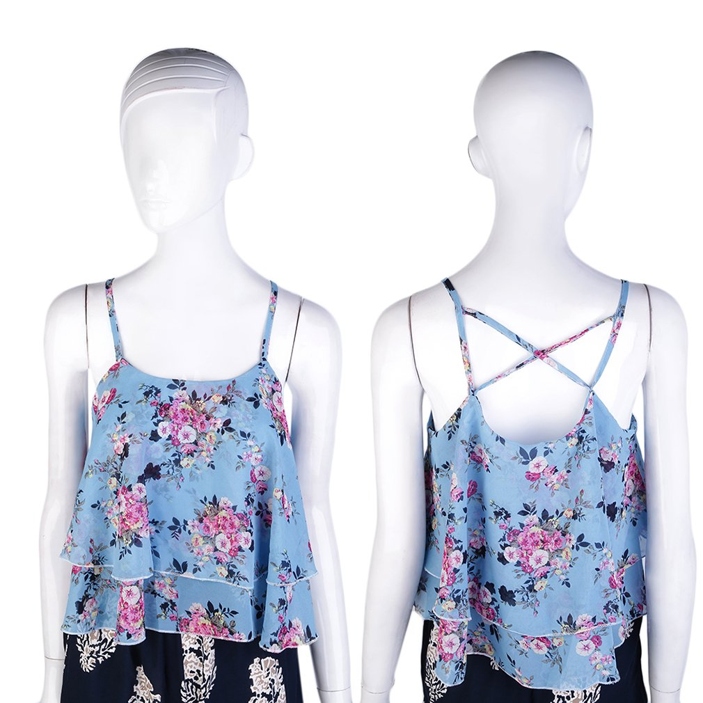 Women Double Chiffon Summer Rose Print Strap Shirt Vest Blouses Crop Top
