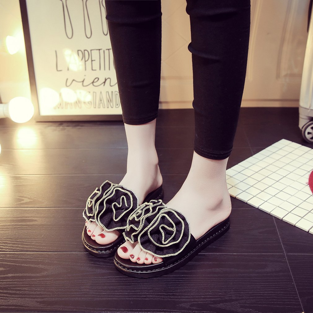 Fashion Rose Flowers Decoration Flats Shoes Comfortable Slip-on Open Toe