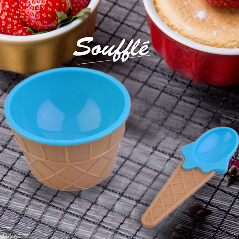Kids Children Ice Cream Bowls Spoons Set Double Layer Heat Insulation Cups