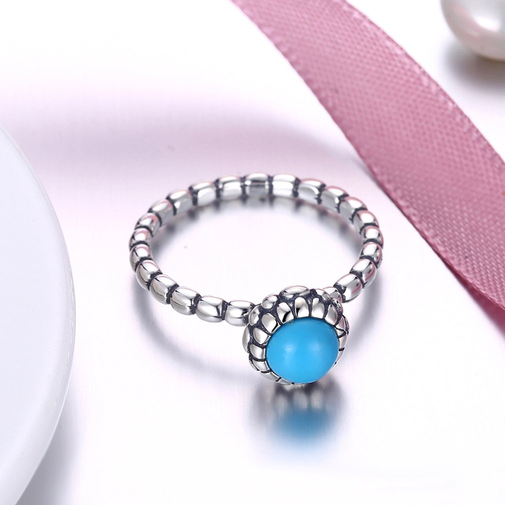Antique Design Geometric Round Turquoise Women Rings Female Ladies 925 Sterling Silver Finger Rings Fine Jewelry Gift