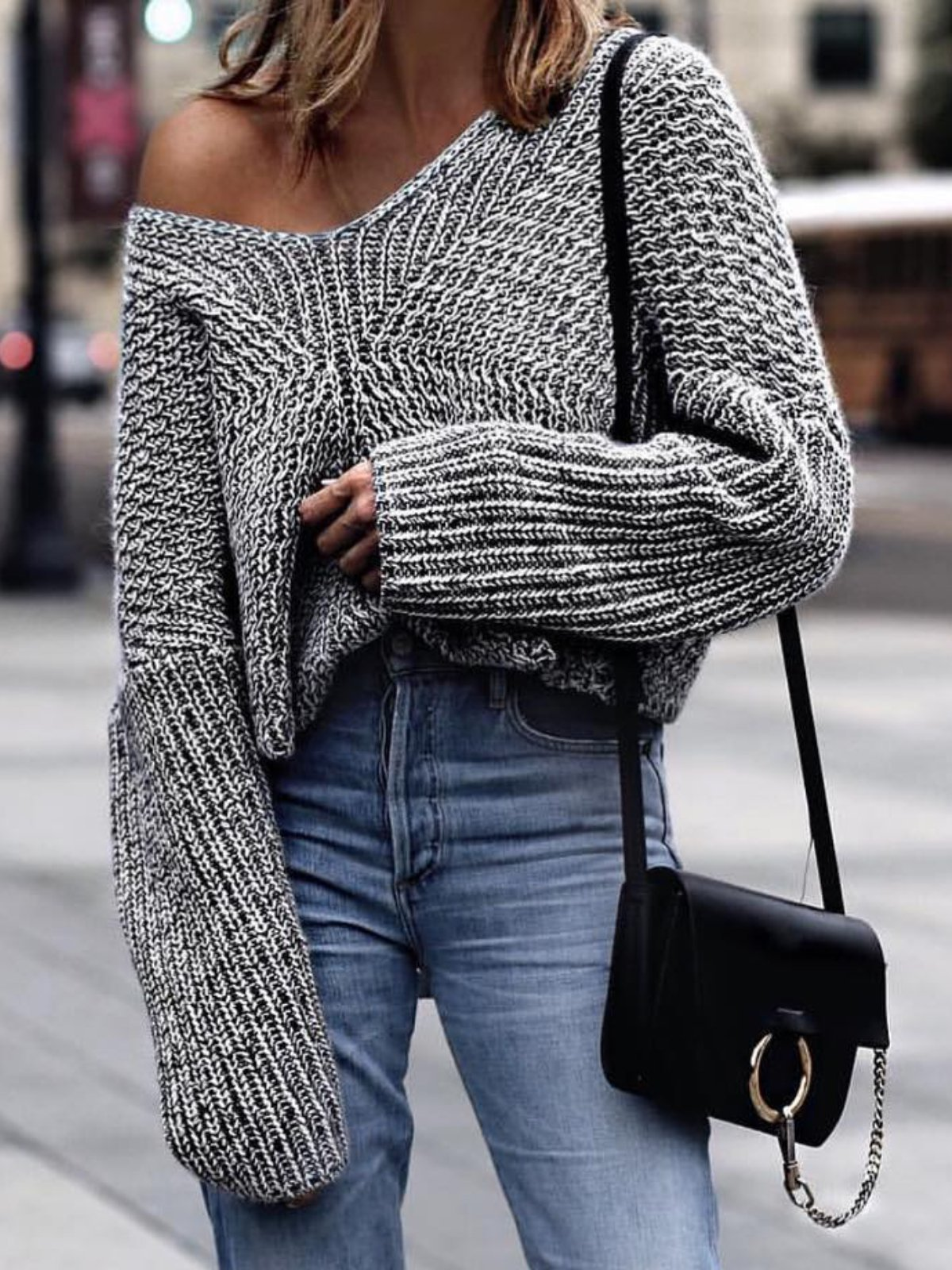 Grey Knitted V Neck Casual Solid plus size Sweater