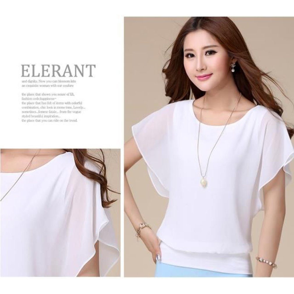 Summer T-shirt Tops Chiffon Shirt Bat Sleeve Loose Elegant Women Solid Color Party Daily Wear Short Sleeved Female Clothing