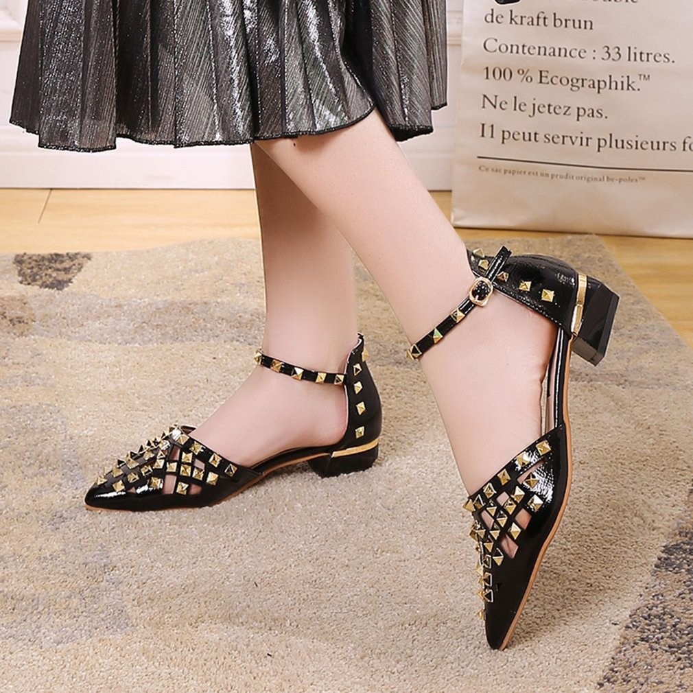 Summer Breathable Elegant Pointed Head Women Sandals Hollow Out Rivet Shoes Square Low Heels Ankle Strap Sandals