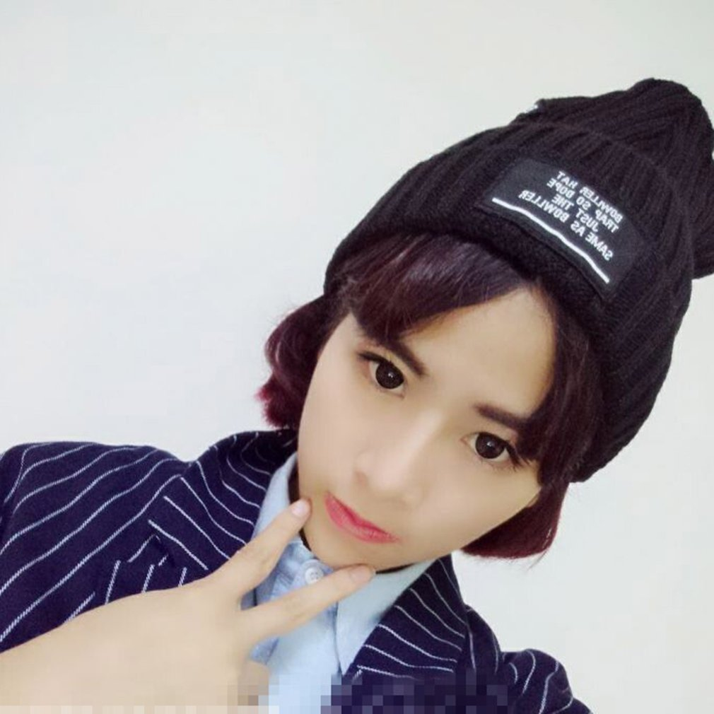Korea Style Women Knitting Wool Cap Black Hat Embroidery Label Beanie Cap