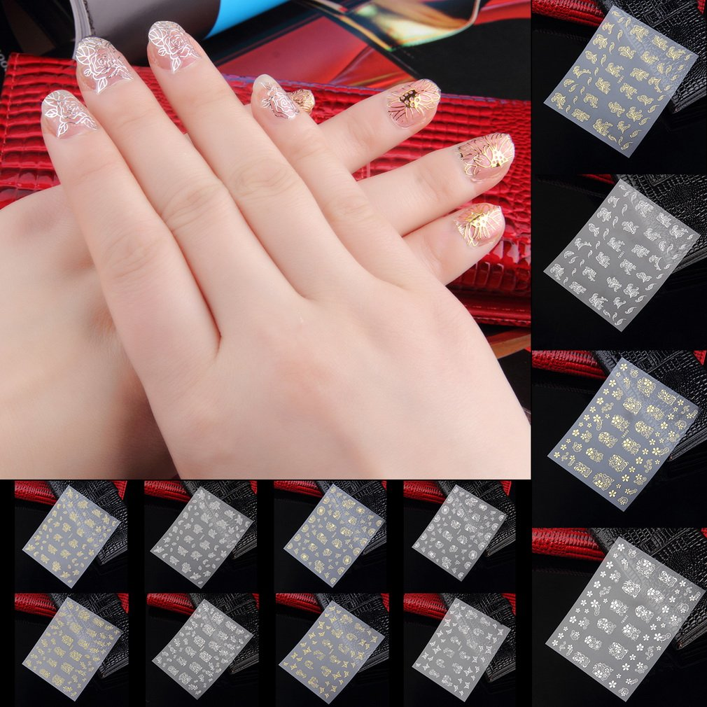 Hot Flower 3D Decal Stickers Nail Art Tip DIY Decoration Stamping Manicure