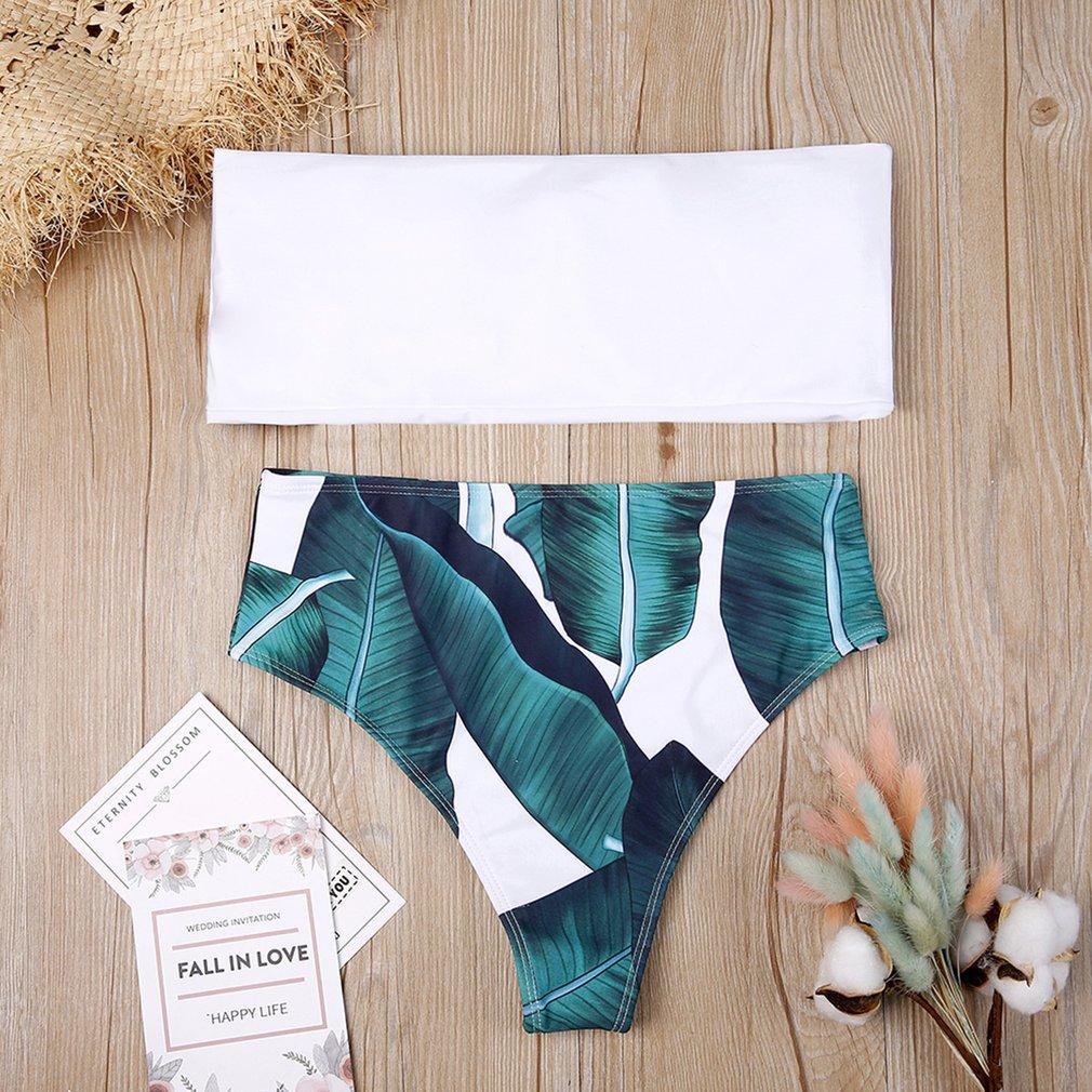 Women Two Piece Bikini Swim Suit Sexy Leaf Printing Tops + High-waist Panties