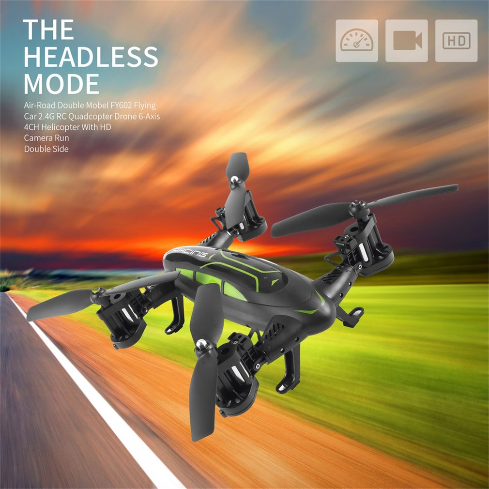 FY602 Flying Car With HD Camera 2.4G RC Quadcopter Drone 6-Axis 4CH Helicopter