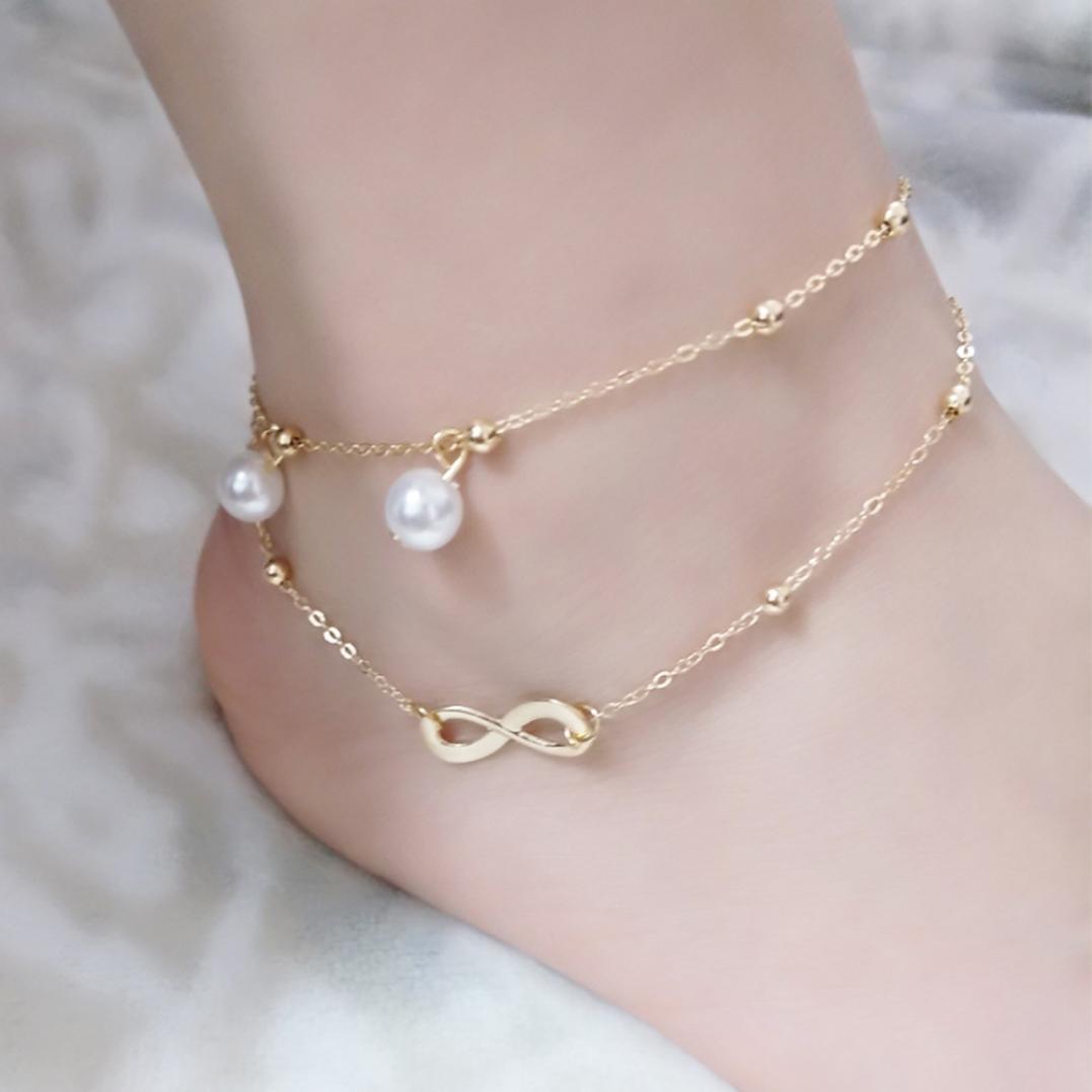 Boho Beach Sandal Barefoot Infinity Charm Bead Ankle Bracelet 2 Layers Anklet