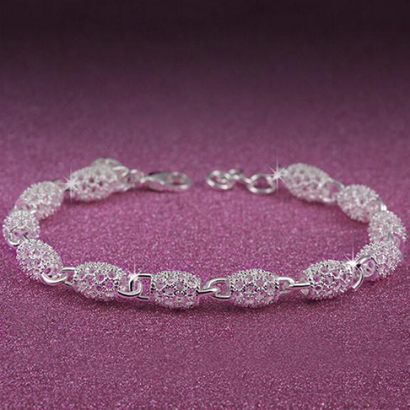 Women\'s 925 Sterling Silver Hollow Chain Bracelet Charm Wrist Bangle Clasp Gift