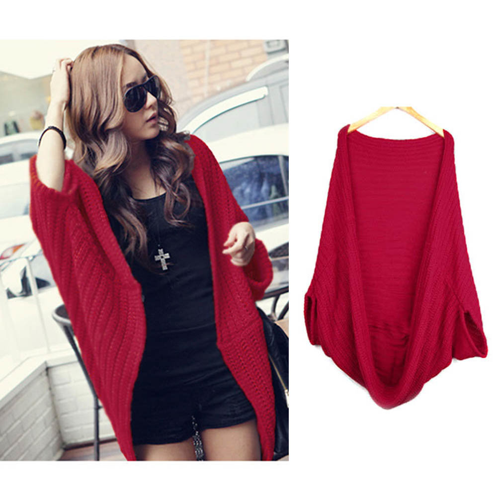 Women Lady Batwing Loose Sweater Coat Knitting Long Cardigan Shawl Outwear