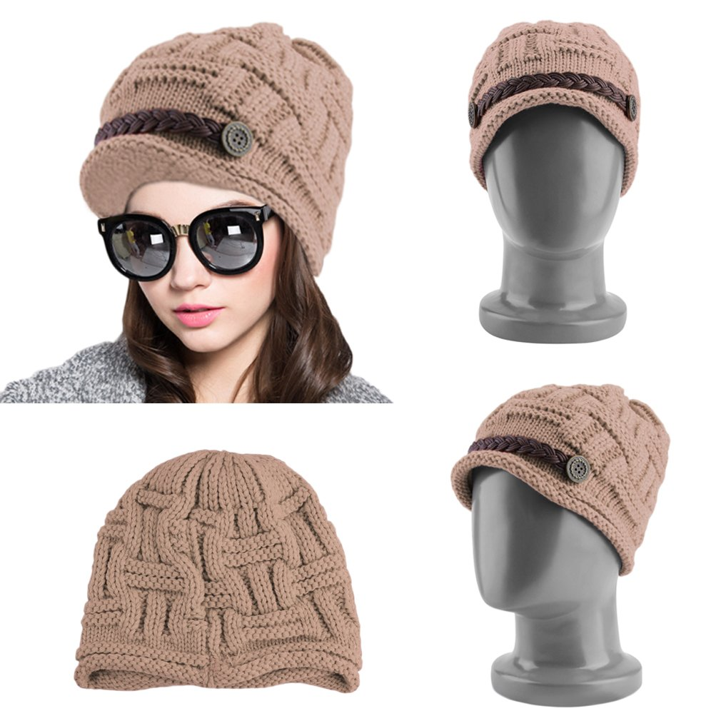 Korean Women's Kintted Faux Leather Decor Beanie Warm Solid Hat Cap Winter