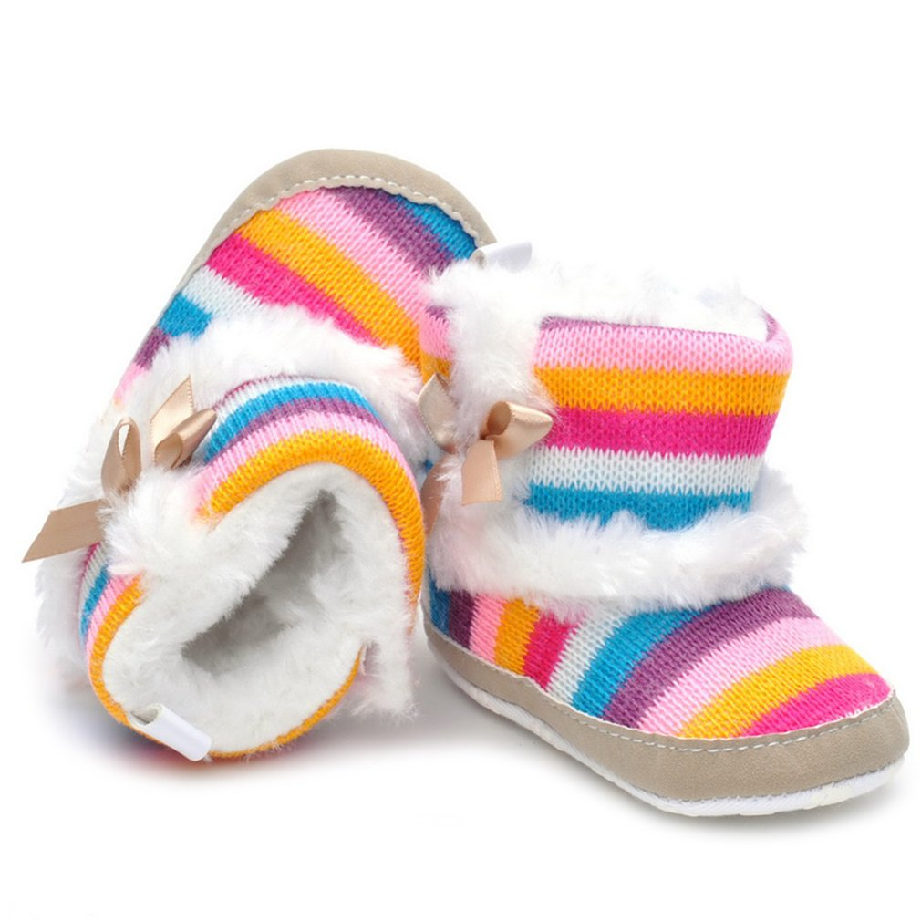Colorful Striped Rainbow Baby Prewalker Girls Antiskid Shoes Casual Shoes
