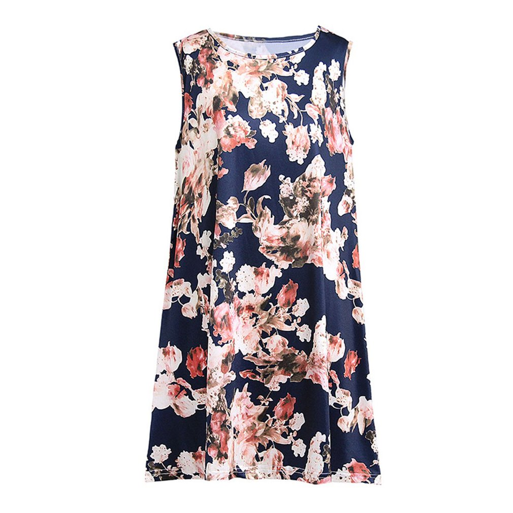 Sexy Vest Dress Summer Women Dress Floral Printing Sleeveless Round Collar Fashion Trendy Dress Loose Casual Dress