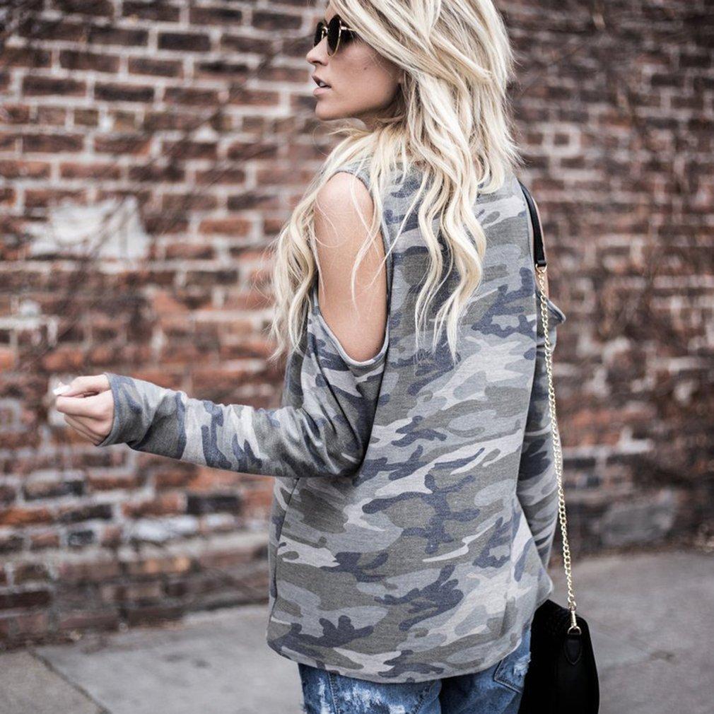 Autumn Winter European Fashion Women Camouflage Printed Long Sleeve Shirt