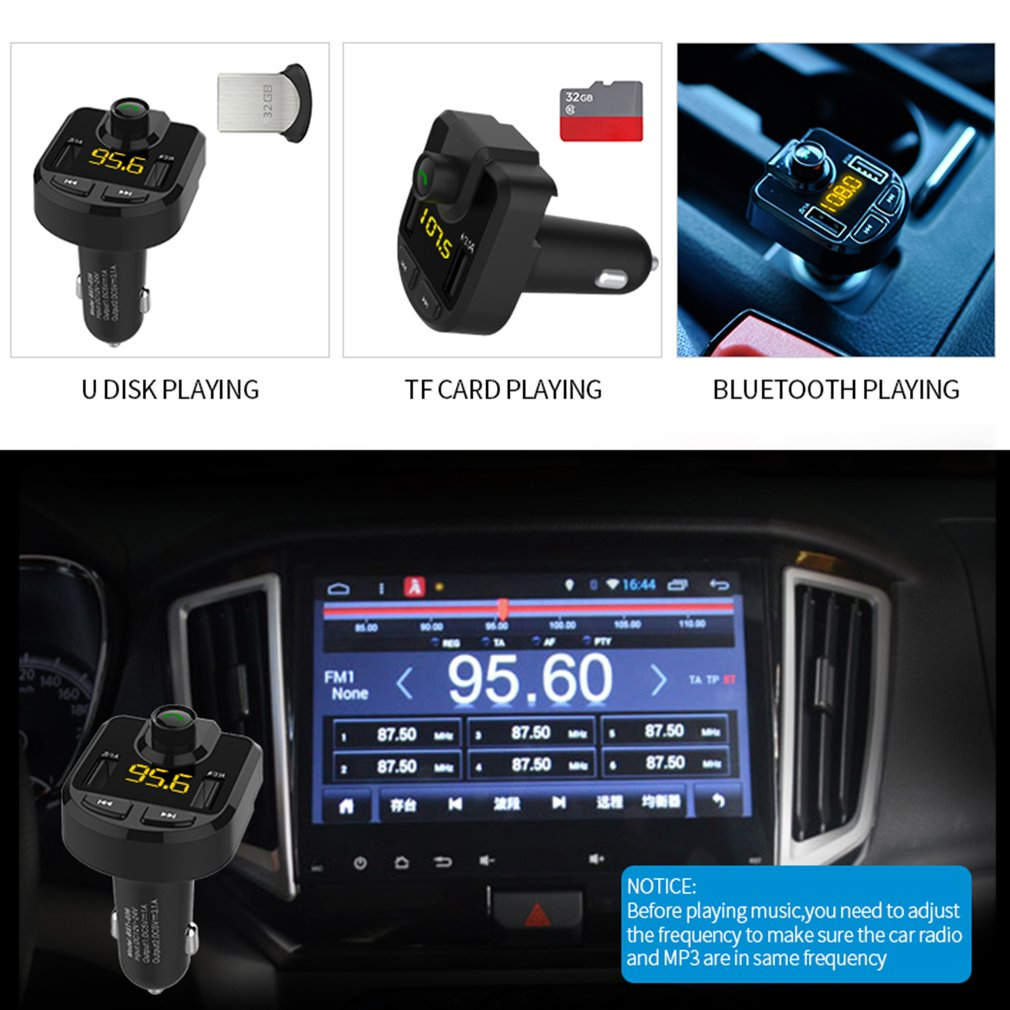 Bluetooth Car MP3 Player FM Transmitter Hand Free Car Kit Dual USB Car Charger