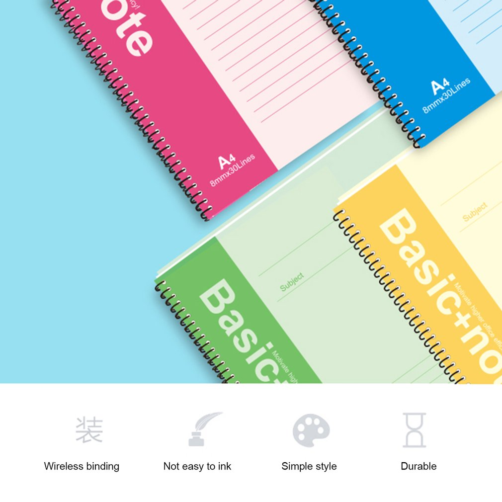 Deli 7690 A4 Spiral Notebook 100 Sheets Paper Cover Records Stationery