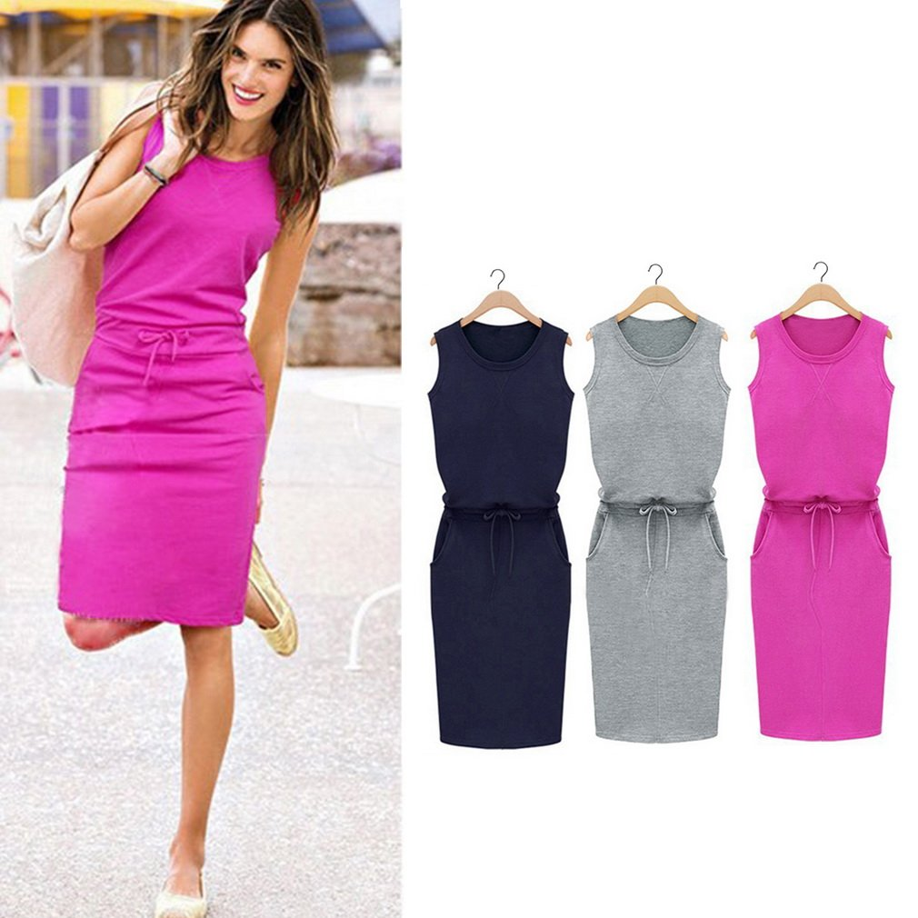 Lady Summer Round Neck Bodycon Slim Sleeveless Dress Casual Pencil Skirt Belt