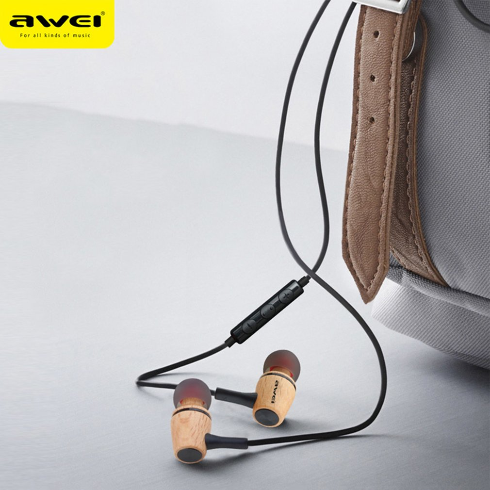 ES-80TY Wood In-Ear Earphone Super Bass HIFI Fever Earbuds With Microphone