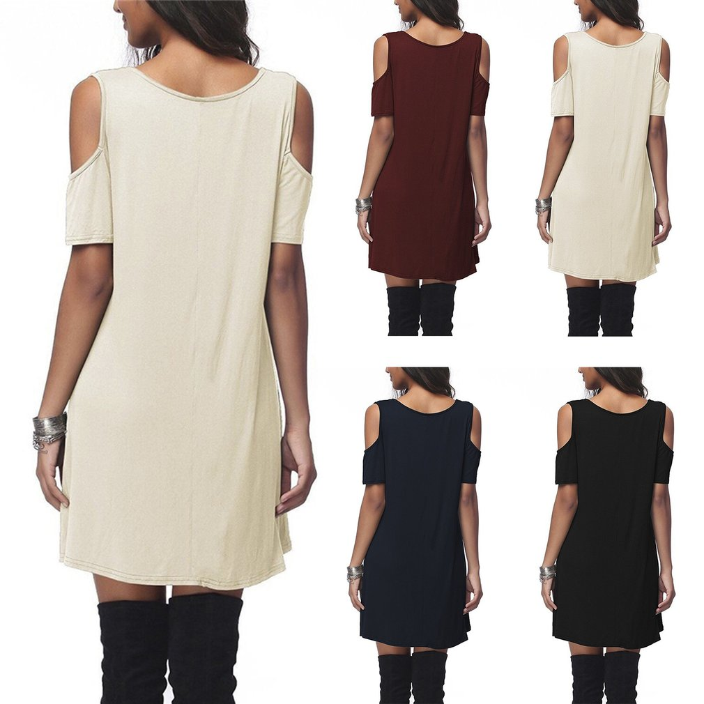 Fashion European Style Loose Dress Cross Sexy Off Shoulder Elegant Lady Slim Knee Length Dress Short Sleeved Casual Daily Wear
