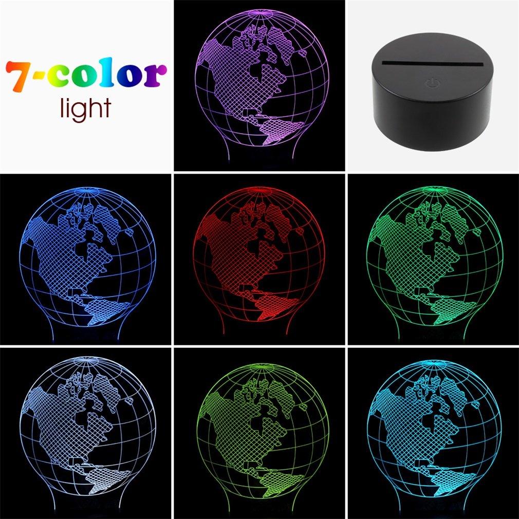 3D Bulbing Globe Design Night 7 Color Change/Warm White/White LED Desk Light