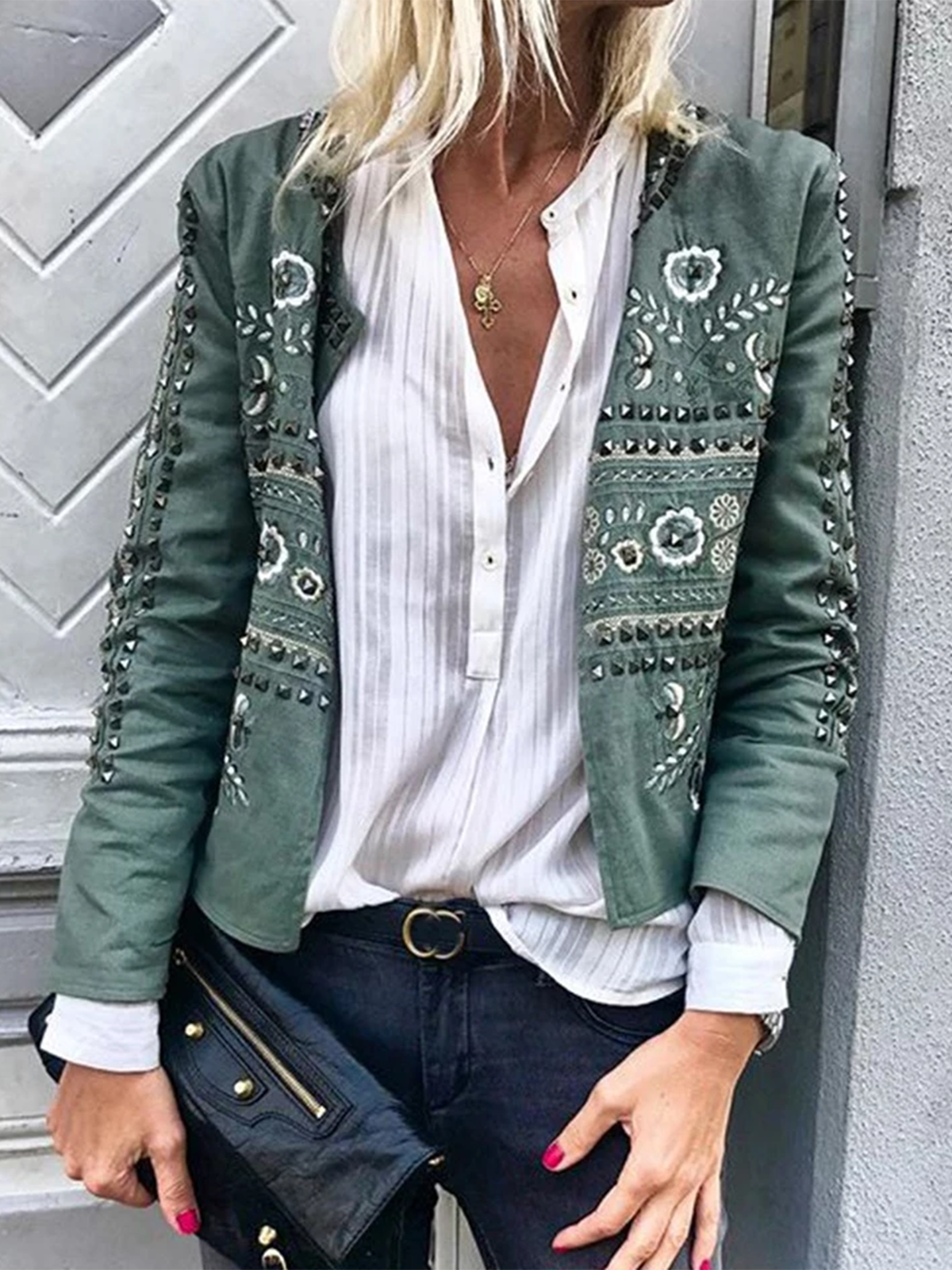 Green Printed Crew Neck Floral Long Sleeve Outerwear