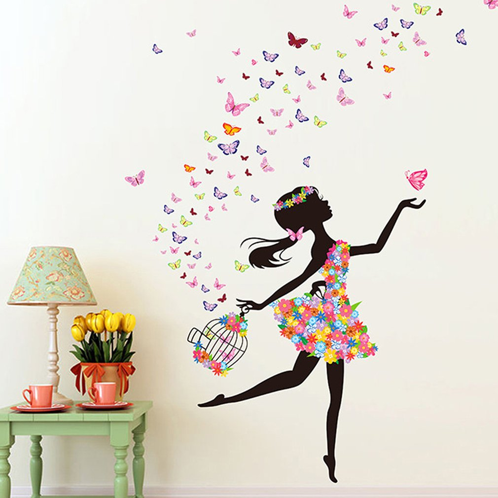 Home Bedroom Wall Sticker Removable PVC Flower Girls Wall Decals Art Stickers