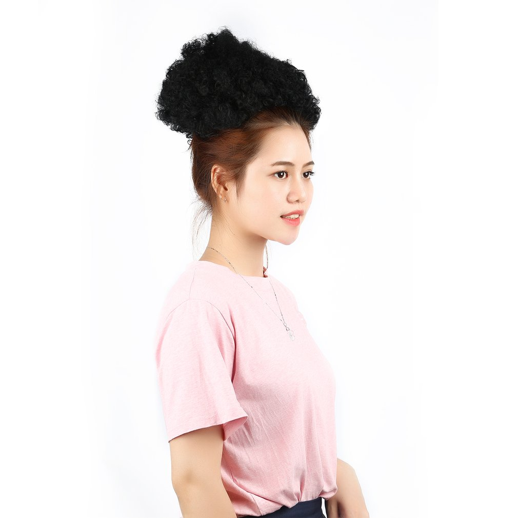Black Afro Wig Cute Big Curly Puff Black Curly Ponytail Synthetic Hair Band