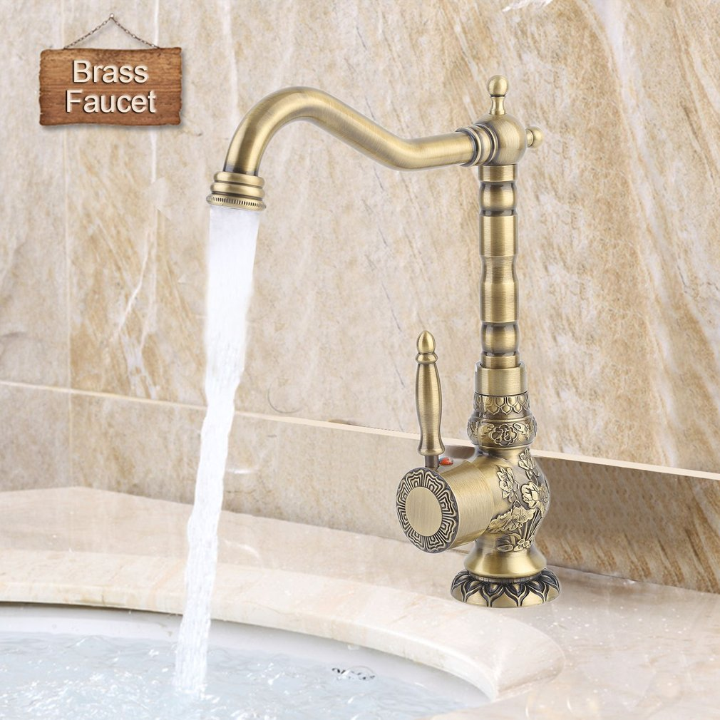 Exquisite Carved Copper Water Basin Sink Brass Faucet Single Hole Mixer Tap