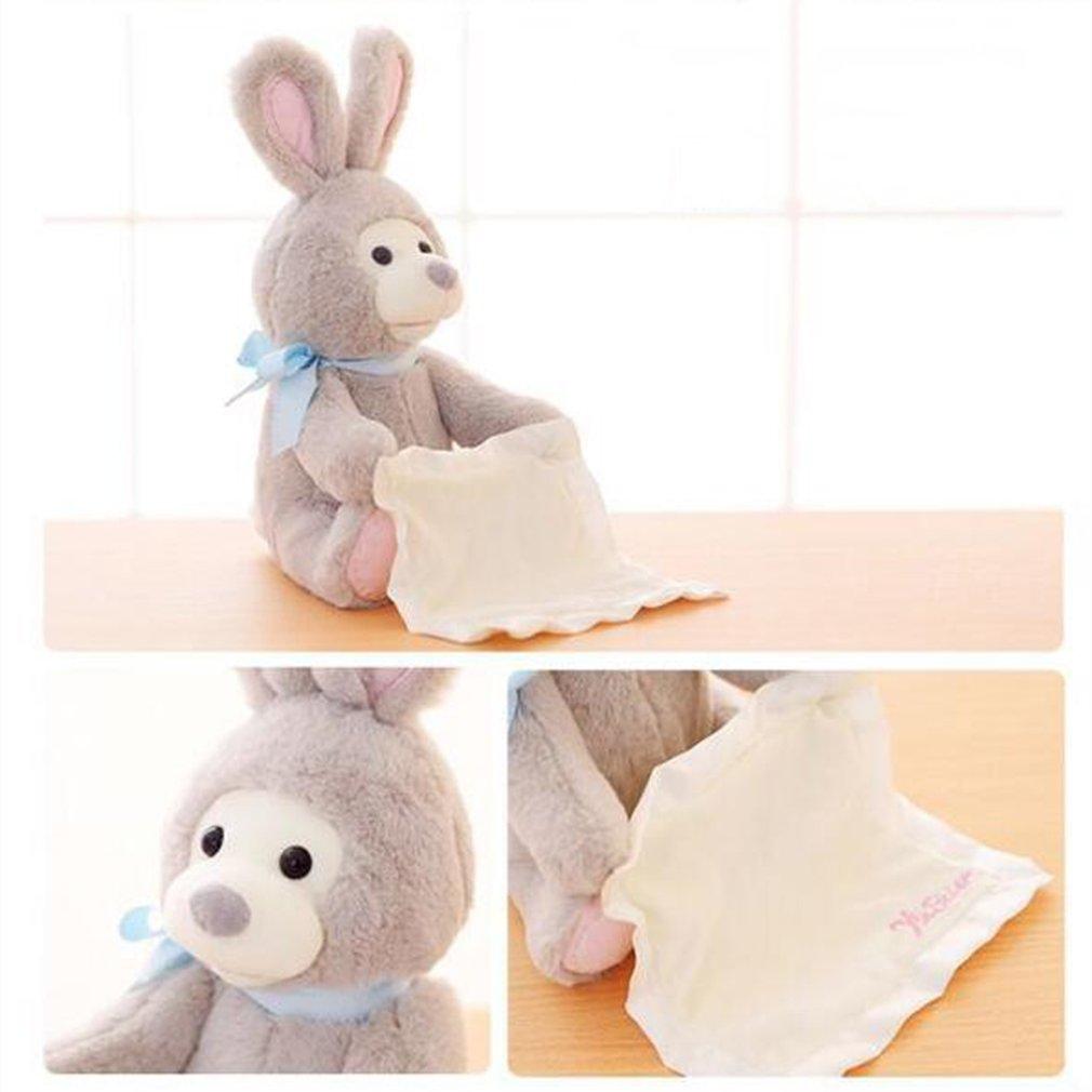 Electronic Rabbit Play Hide & Seek Cartoon Stuffed Kids Music Plush Dolls Toy