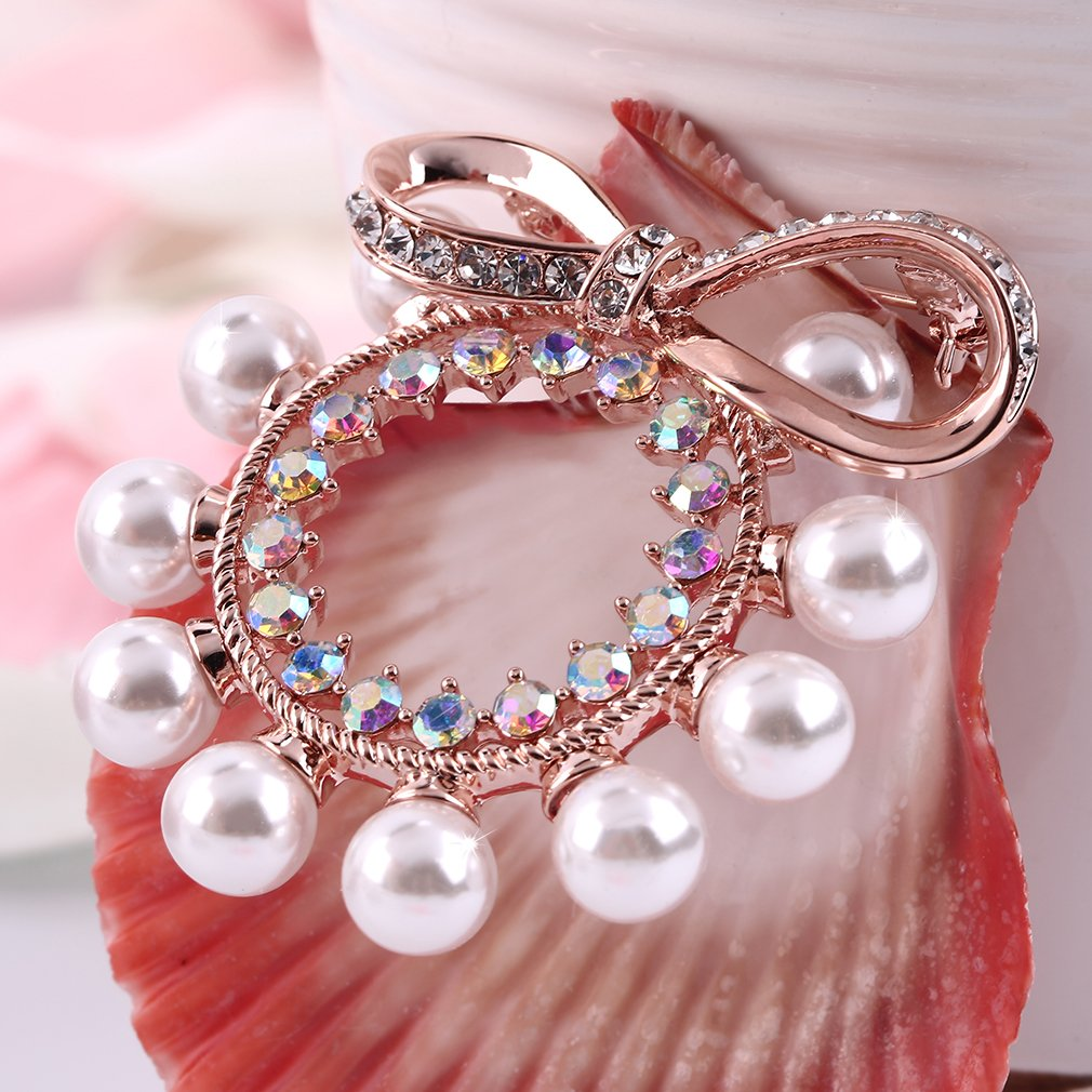 Women Lady Faux Pearl Bowknot Wedding Party Bridal Dress Brooch Pins Gift