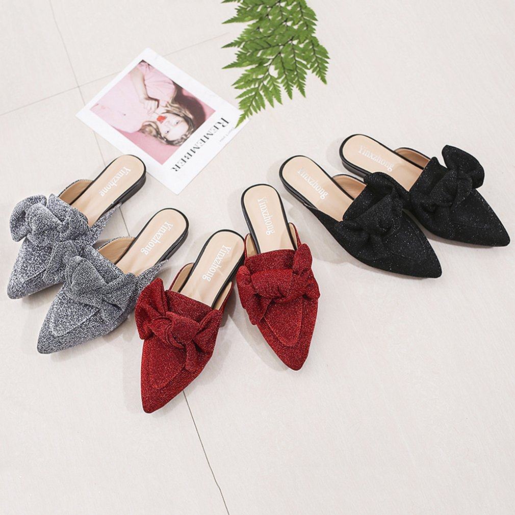 Women Slippers Spring Fashionable Women Flat Slipper All Match Clothes Party Ladies Pointed Toe Bowknot Footwear Shoes
