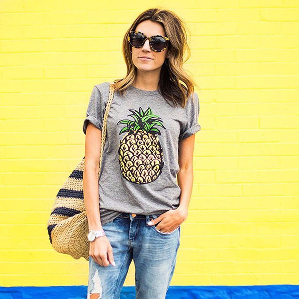 Fashionable Design Summer Women Short Sleeve T-Shirt Casual Pineapple Printed Loose Style Ladies All Match Clothes Shirt Tops