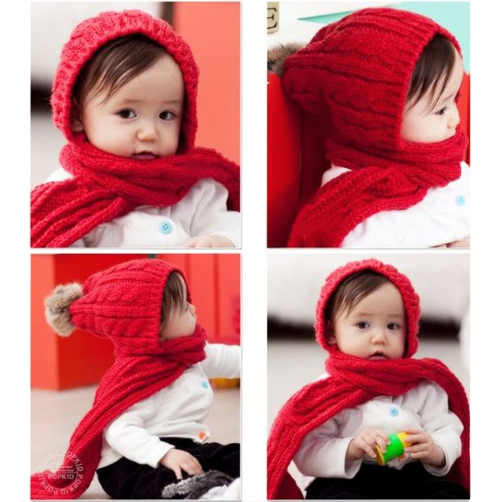 Babies Beanie Wool Scarf Shawl Winter Hooded Cape Cloak Poncho Knitted Cap